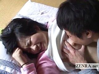 Innocent Japanese schoolgirl licked round English subtitles