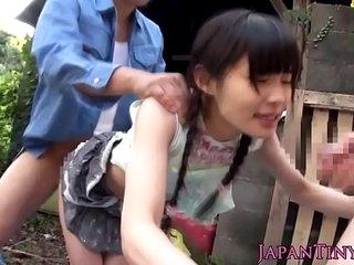 Taciturn japanese hos face sprayed