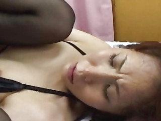 Skinny Japanese slut fingered plus fucked in a trio uncensored