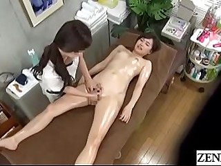 Japanese swishy massage be expeditious for stark overt and oiled up college student with English subtitles
