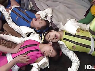 Roasting Japanese babes Miku n Miku gets bangbanged together with creampie by guys