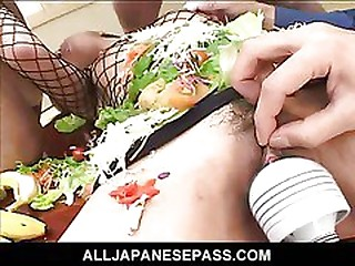 Japanese AV partition turned into an edible game table be incumbent on horny guys