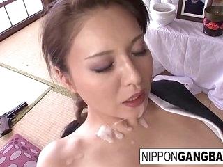 Japanese hottie gets gangbanged in her dojo